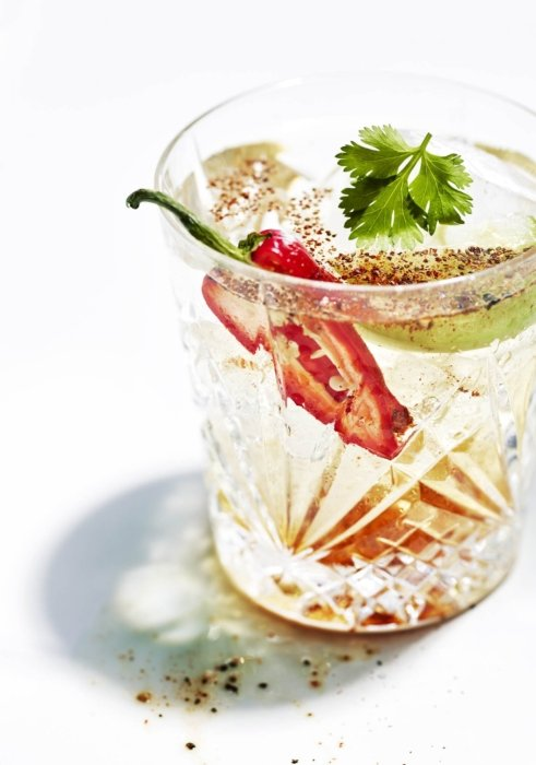 Tequila Cocktail with peppers and seasonings - Drink photography