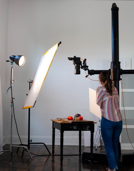 Setting up a camera and lights to replicate natural light