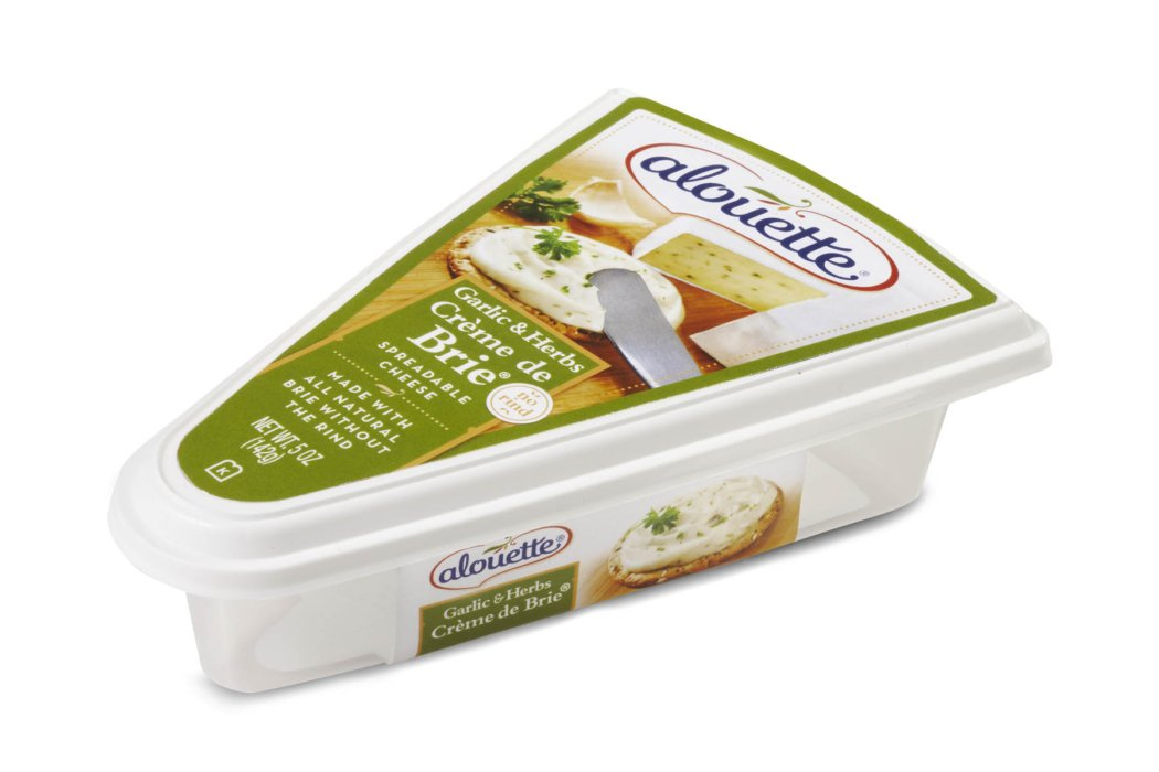 Green alouette brie cheese box