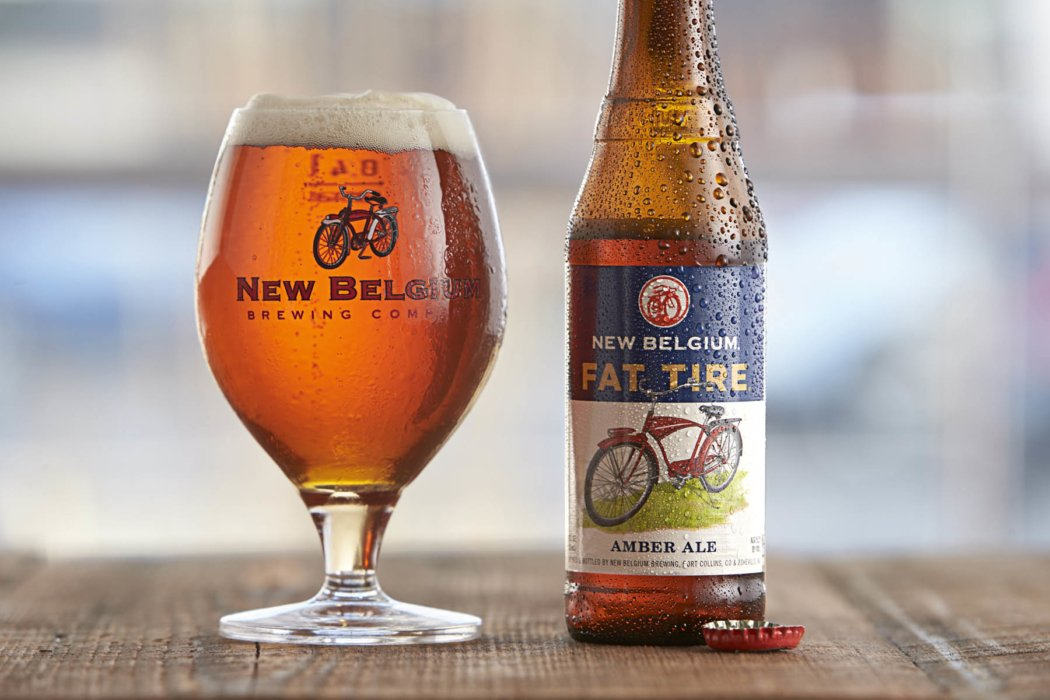 Flat Tire New Belgium beer with glass