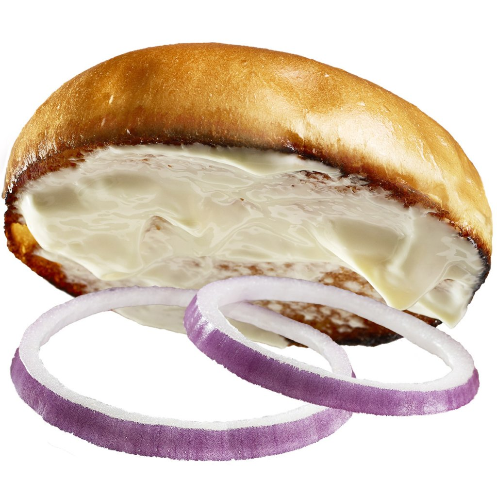 Burger bun with mayo and onions