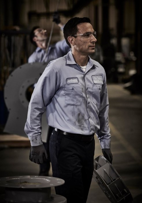Man working in an industrial facility