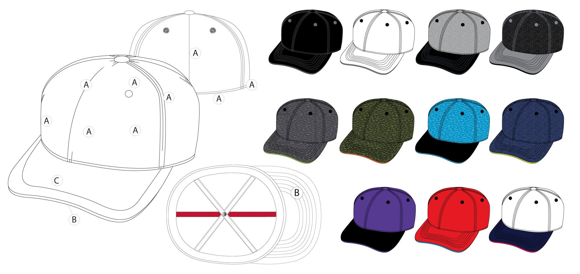 Hat Colorways Diagram