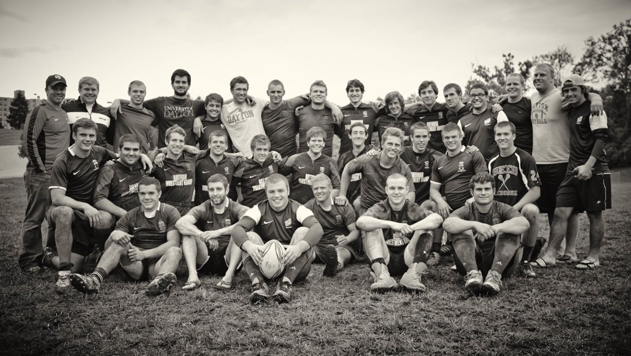 A team portrait of a young rugby team