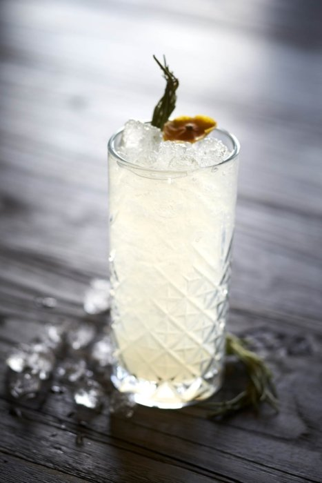 Drink photography - a tall glass cocktail with spices