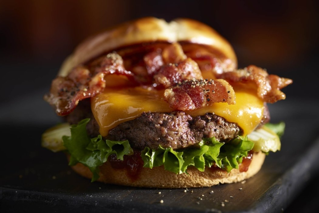 Food photography - a bacon cheese burger for a restaurant menu