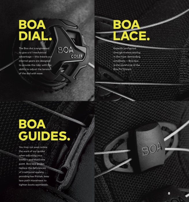 Advertising Photography - BOA system features about laces and dials in a magazine layout