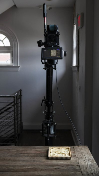 Setting up a shot with a video camera