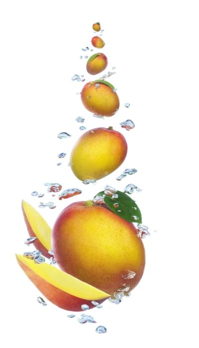 Floating splashing mangoes with water