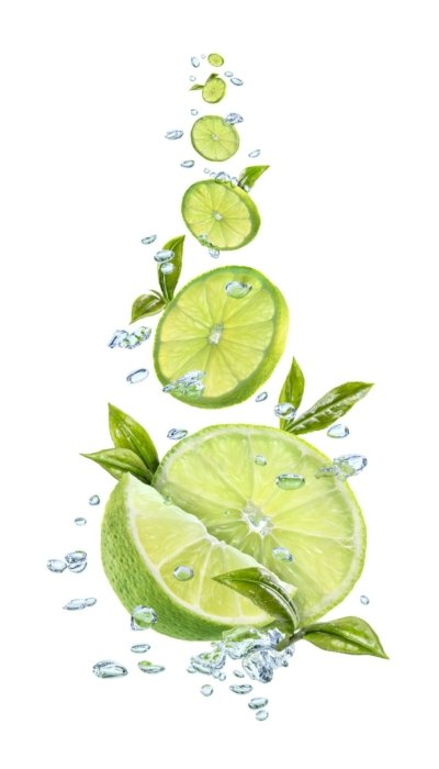 Floating splashing limes with water