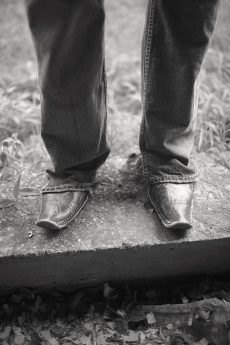 Fashion image of leather boots and jeans