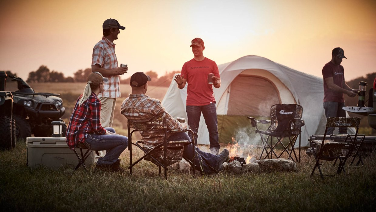 A group of hunters having a camp out