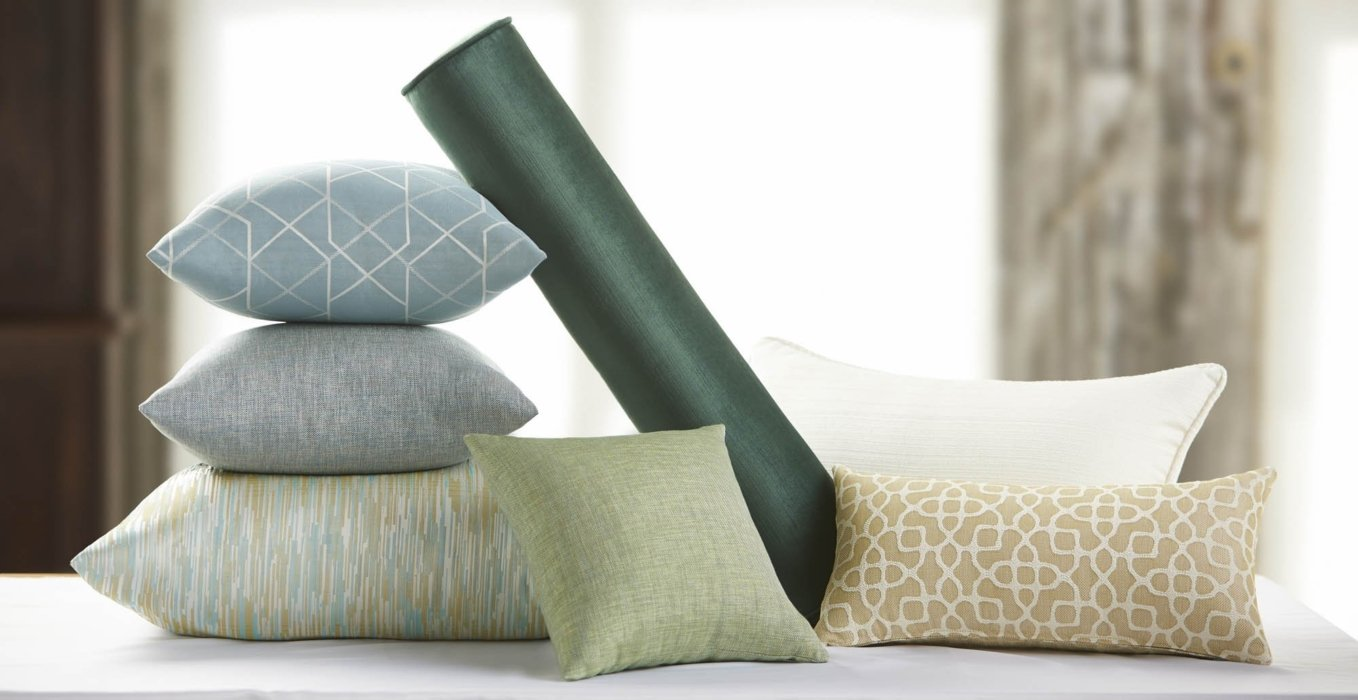 A set of textile options on pillows for hotels