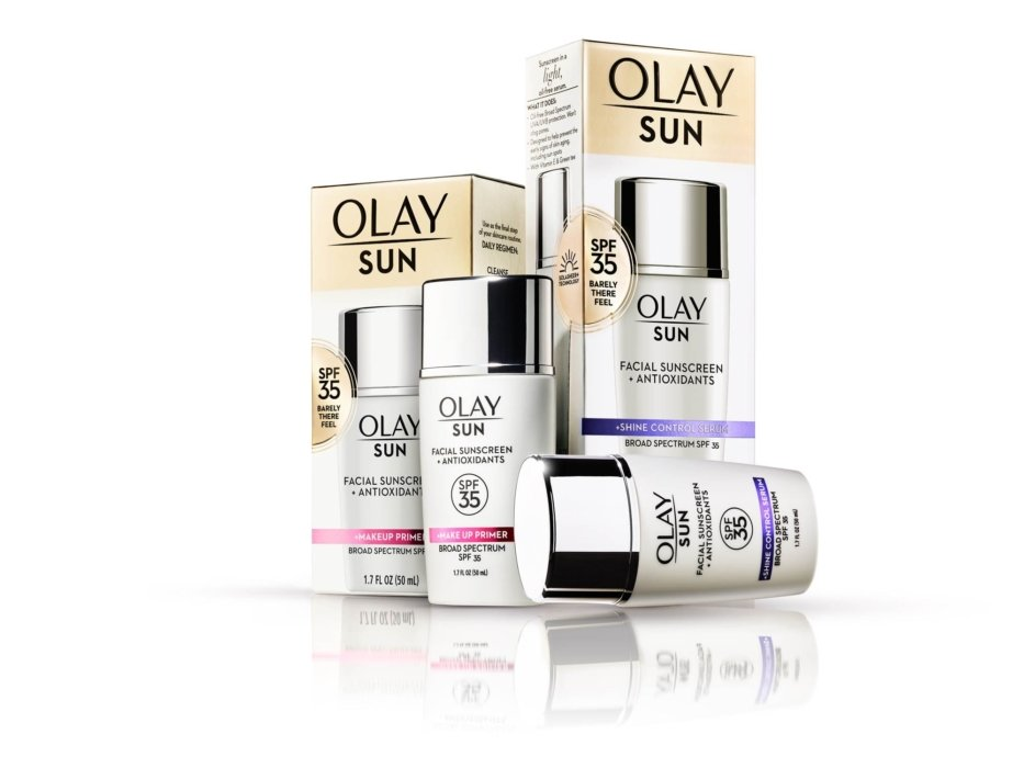 A group product set up of Olay sun products. - Cosmetics photography