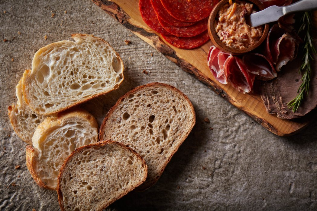 Artisan breads with prosciutto