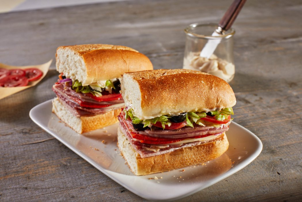 An italian hoagie sandwich featuring the hoagie bread