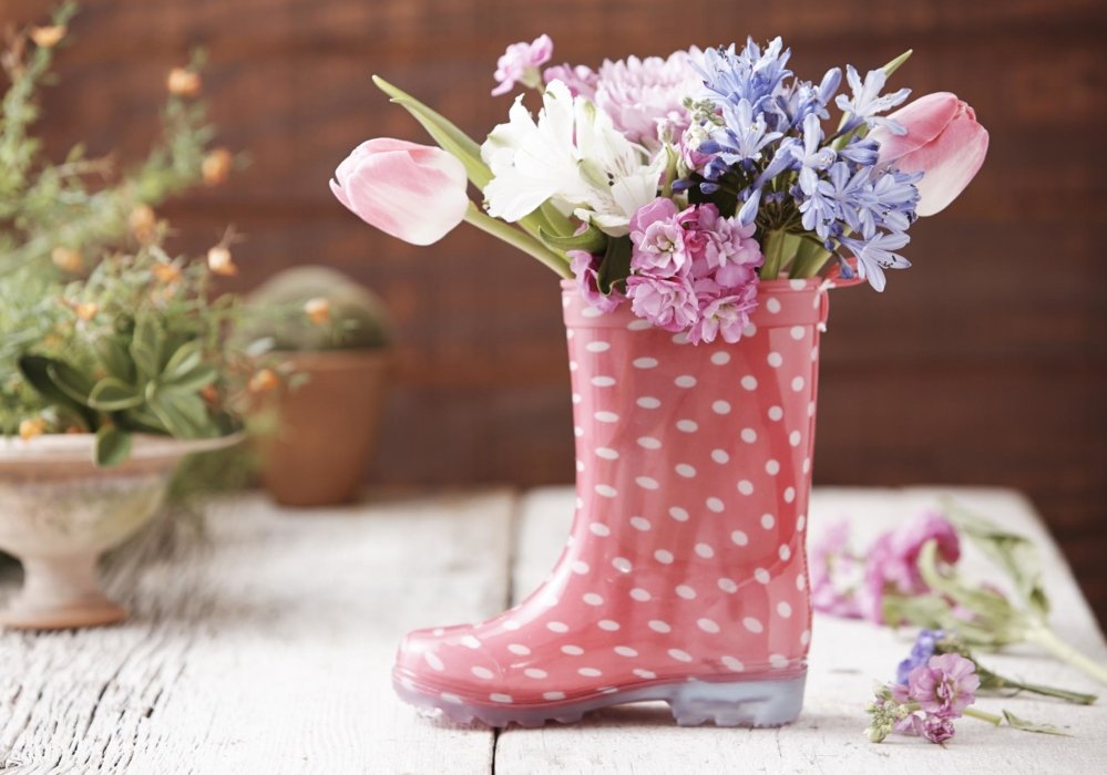 A crafty vase made out of a rain boot