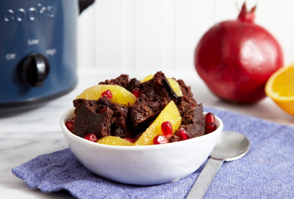 Chocolate cake with oranges and pomegranates