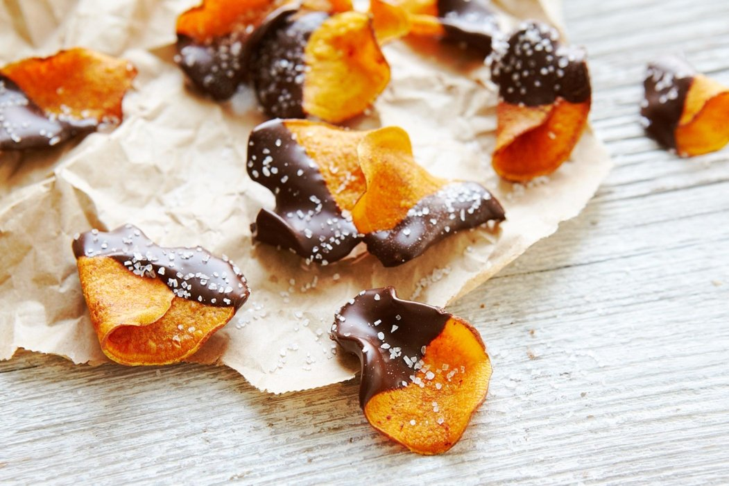 Sweet potatoes dipped in chocolate and sprinkled with salt