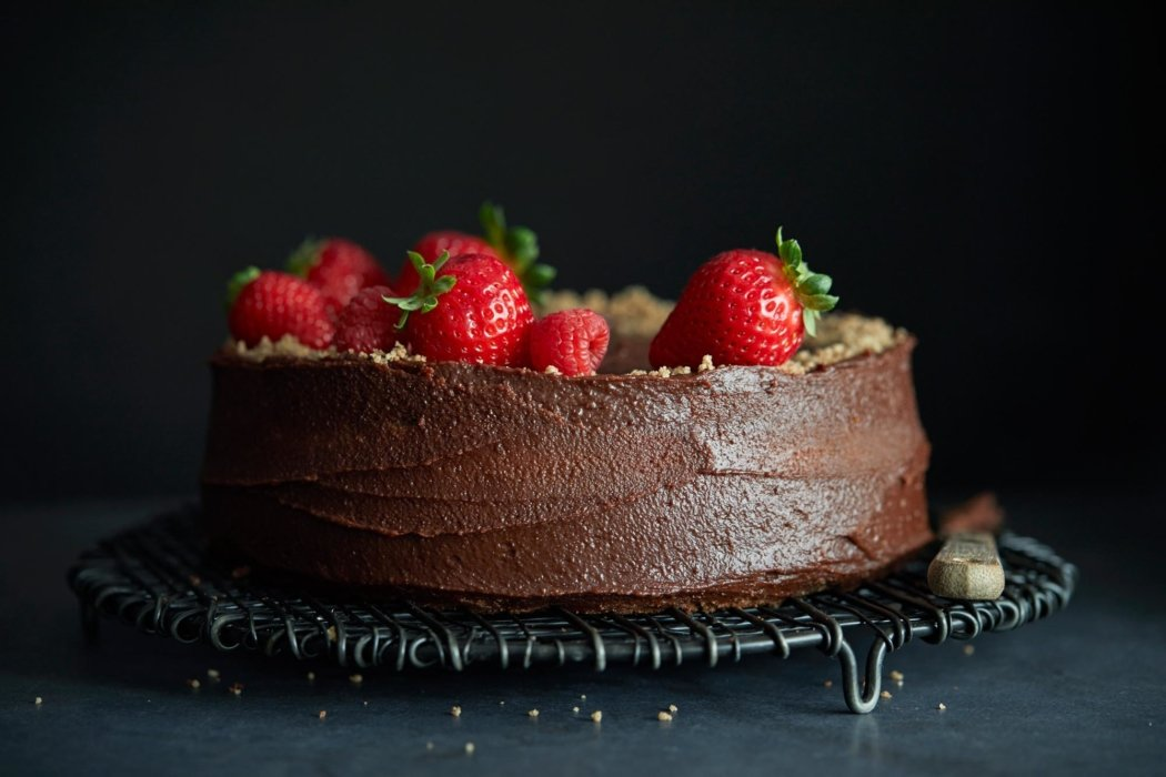 Chocolate cake with strawberry topping