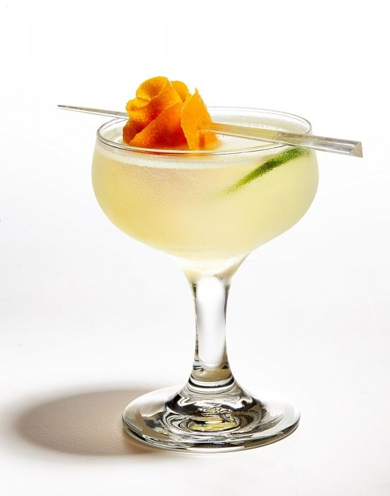 A margarita cocktail on a white background