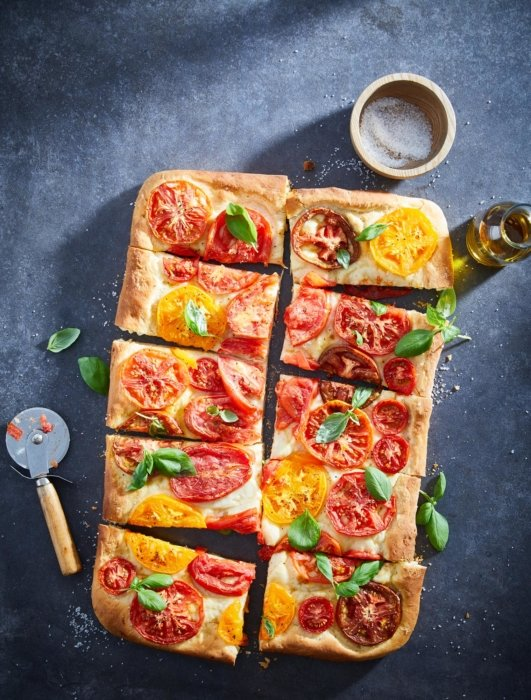 Flat bread pizza on stone
