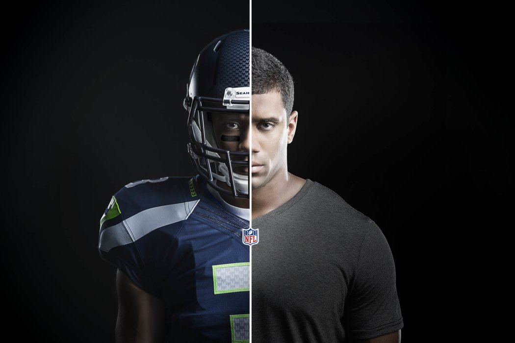 Football athlete portrait split