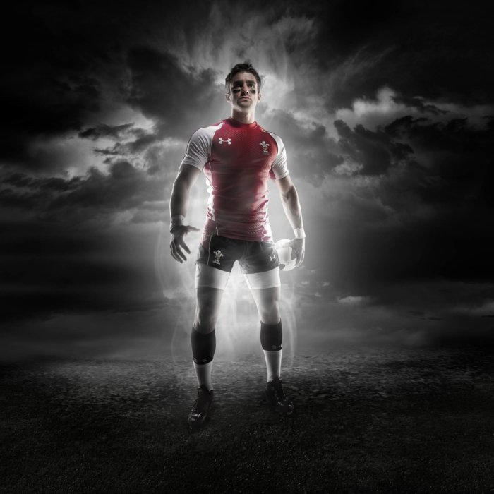 Dark athlete soccer portrait