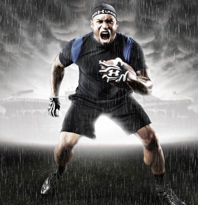 Intense dark and rainy athlete portrait