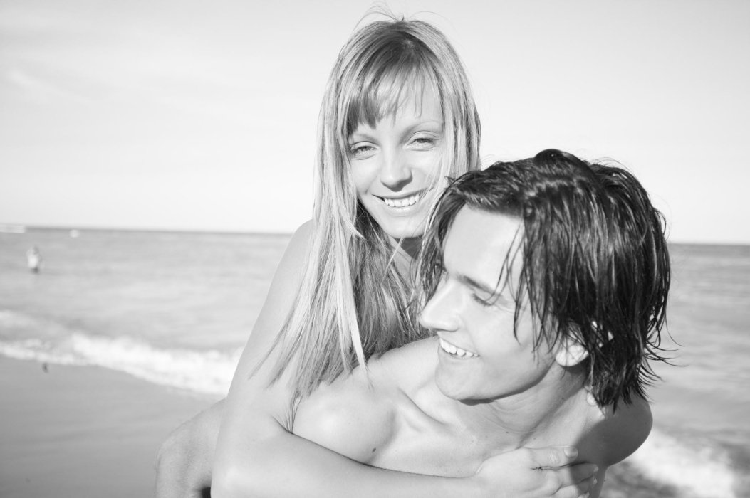 Beauty shot of a woman and man on a beach