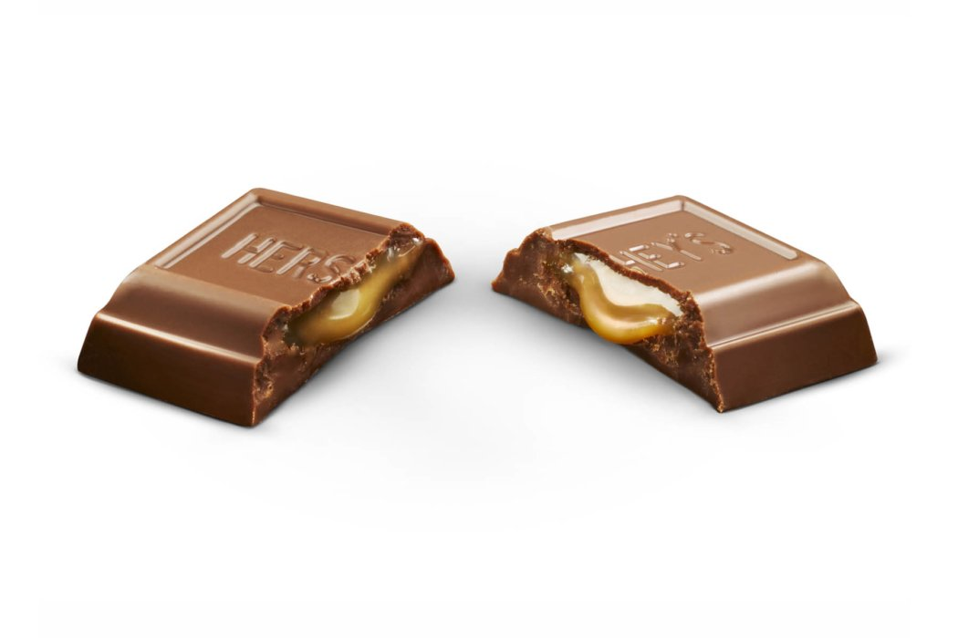 two chocolate filled with Carmel