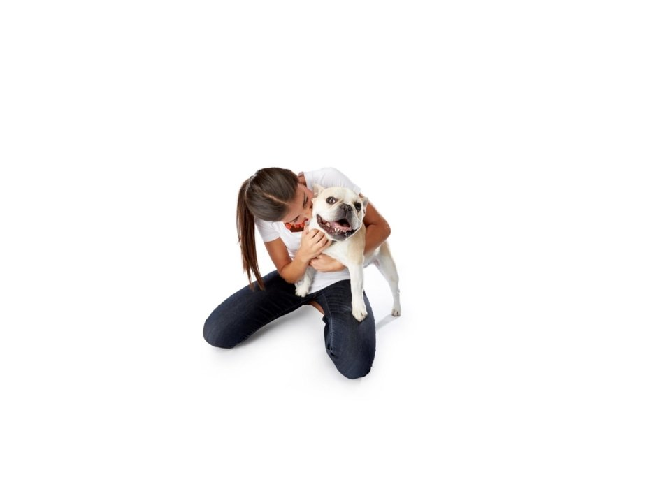 Dog and owner hugging on a white background