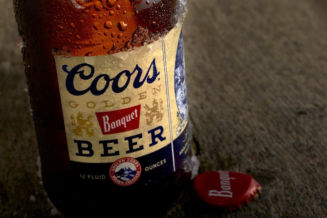 Coors beer brown beer bottle sweating