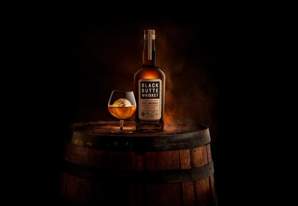 Black Butte Whiskey Bottle on Barrel