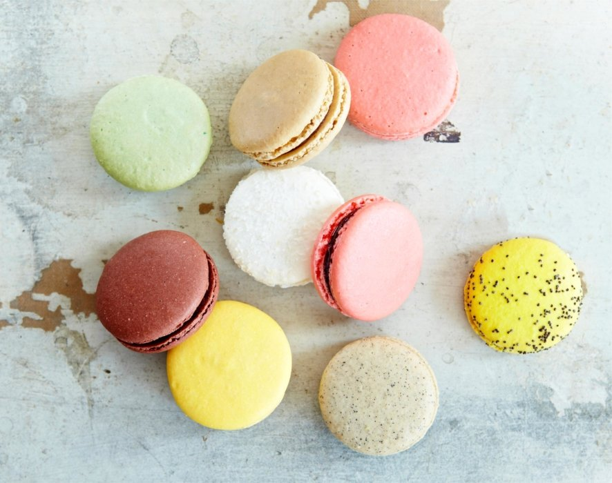 Macaroons on a marble counter
