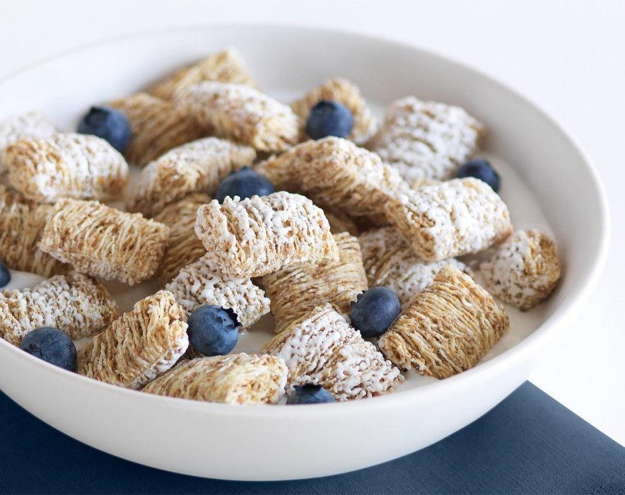 Wheat cereal and blueberries