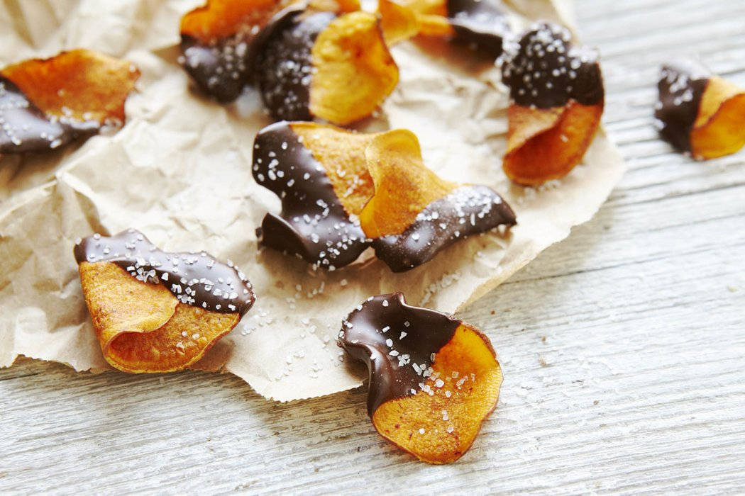 Orange chips covered in chocolate