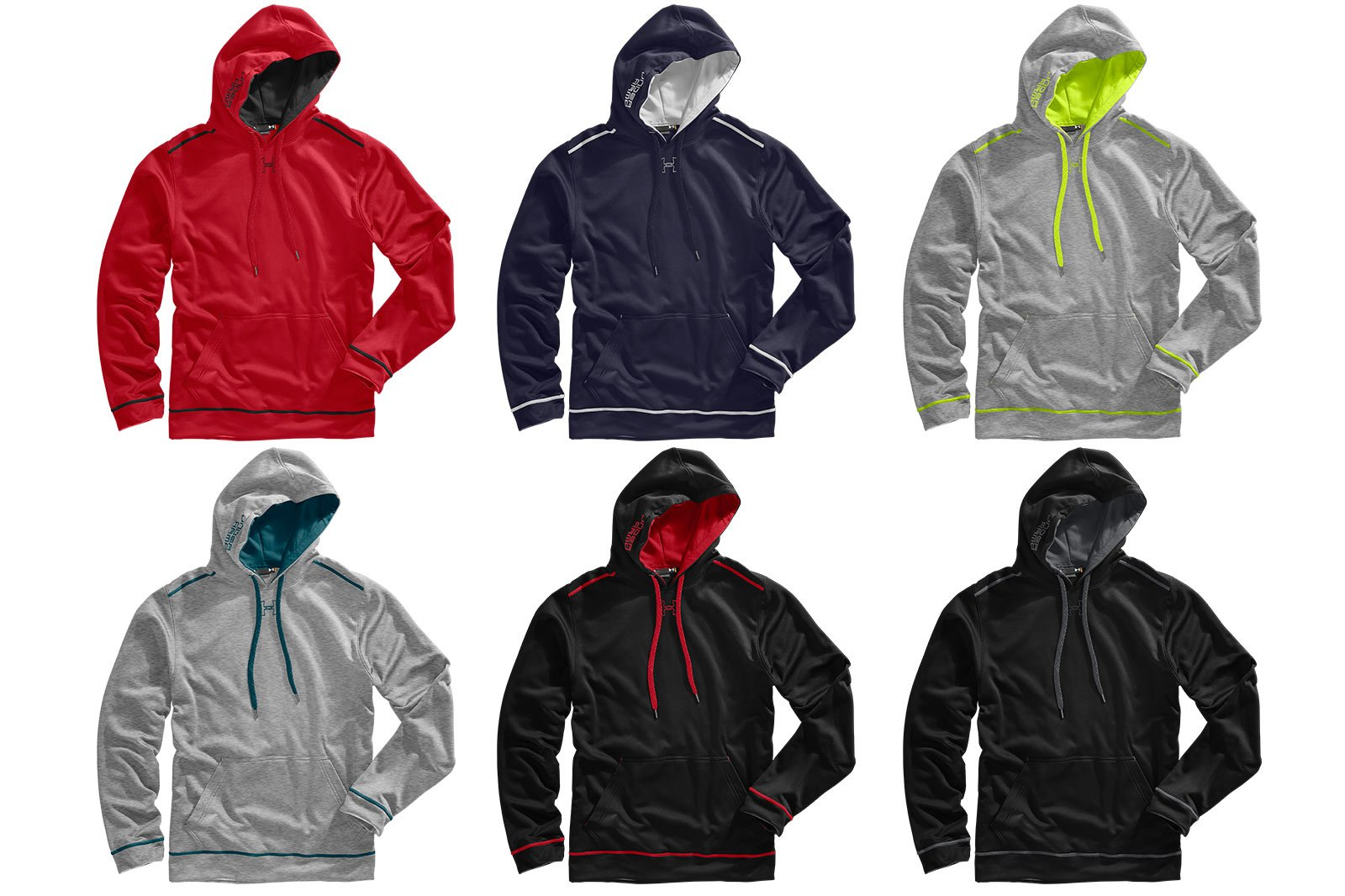 Colorways example - six hoodies with a range of colors