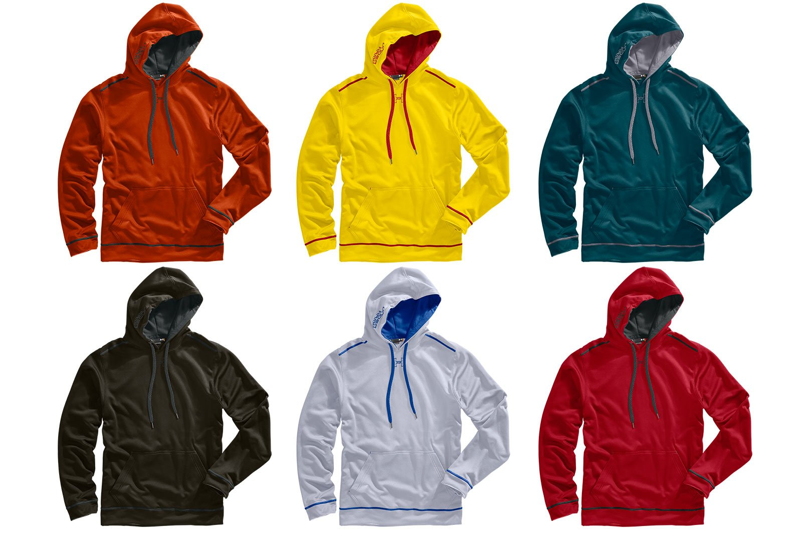 Colorways example - six hoodies with a range of colors alternates