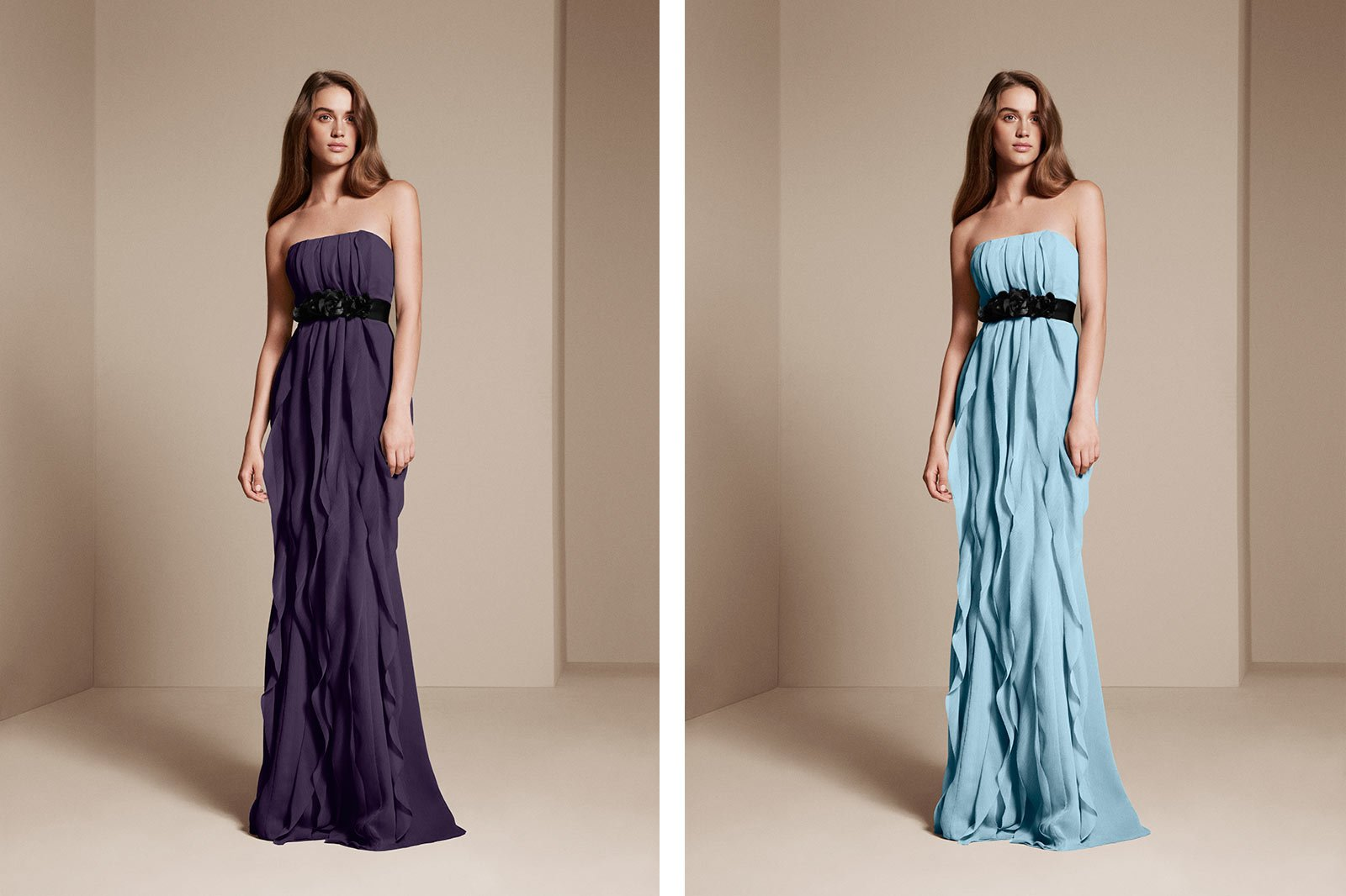 Colorways example - bridesmaid wearing bridesmaid dresses alternate blue and purple
