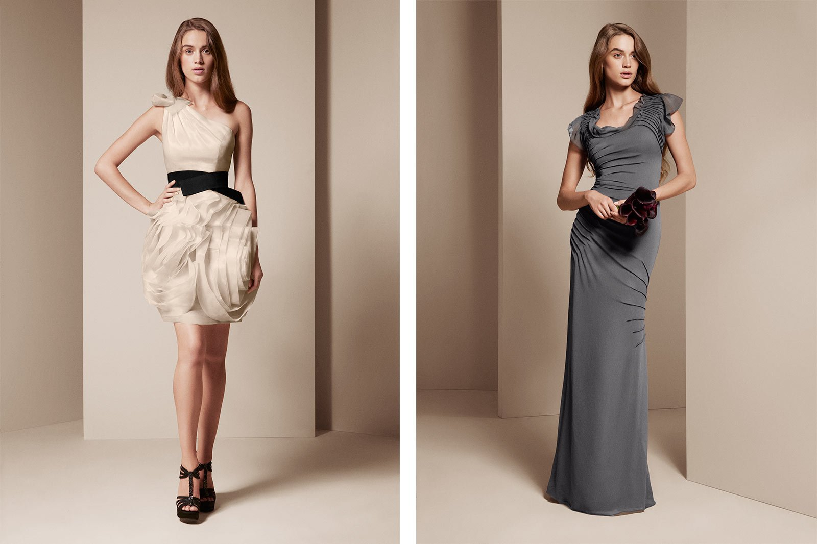 Colorways example - bridesmaid wearing bridesmaid with frills gray and beige