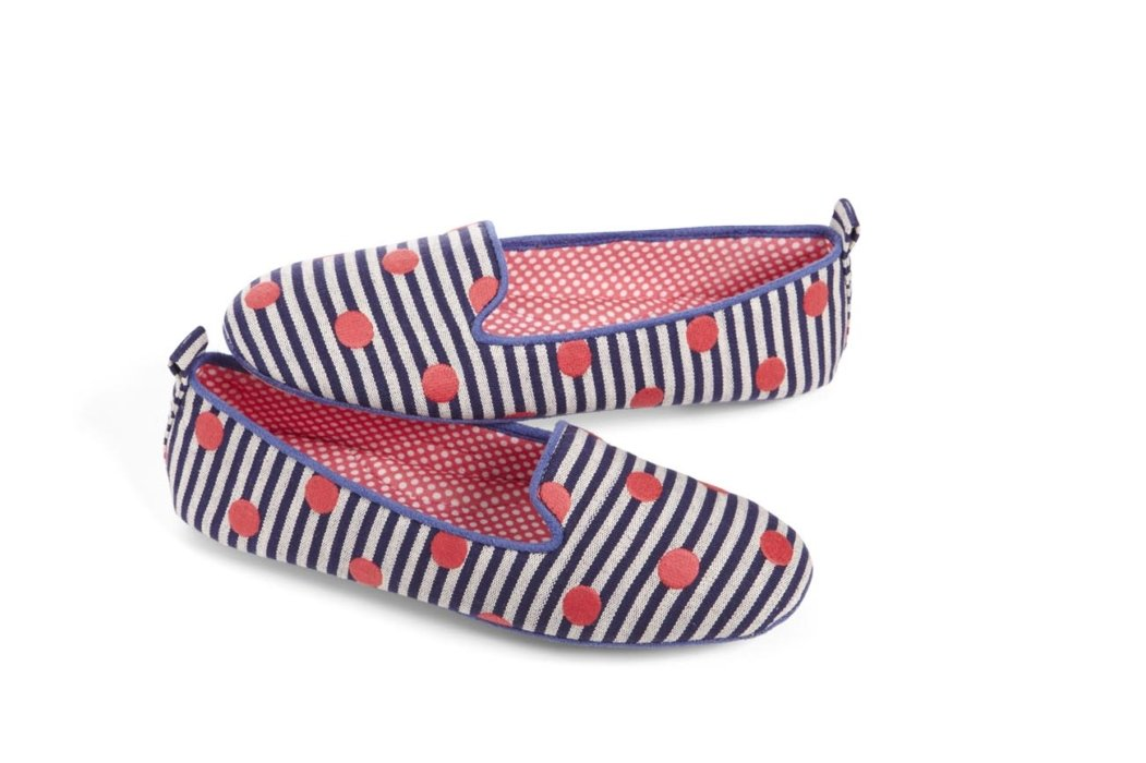 Striped and dotted shoes on a white background for ecommerce
