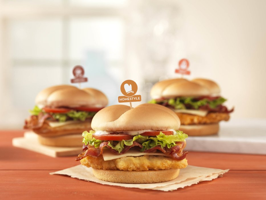 Chicken bacon sandwiches for advertising display