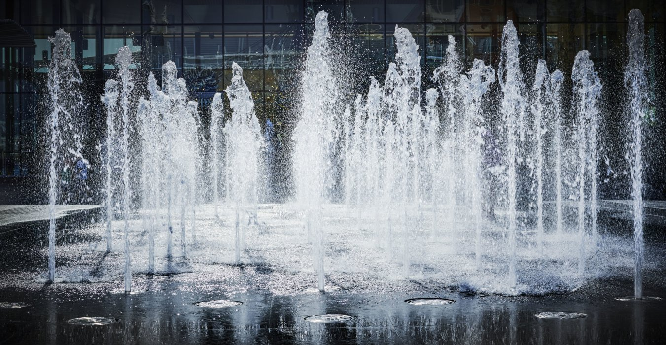 Exterior architectural feature of a water fountain