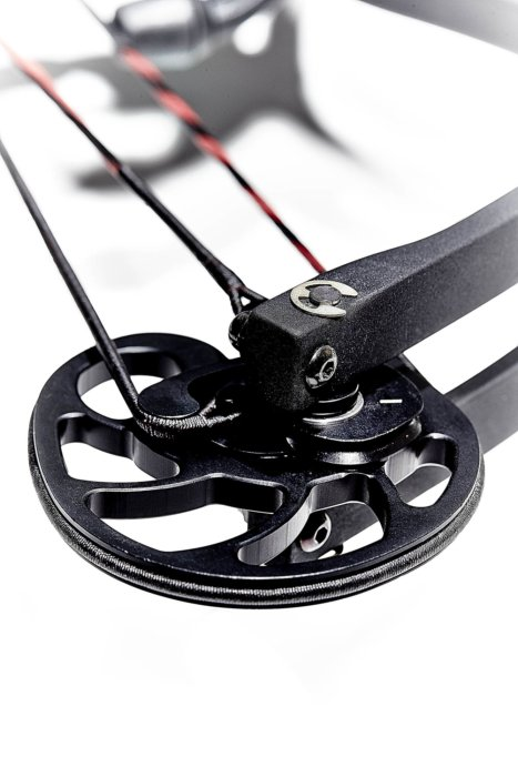Close up of an outdoor compound bow