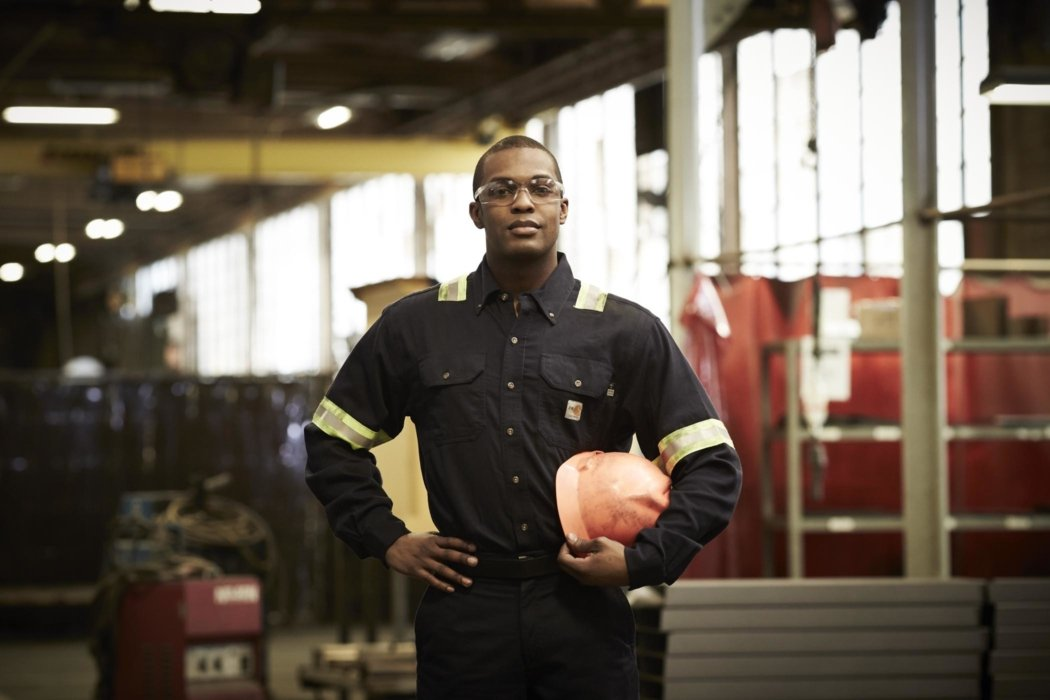 Industrial worker hero portrait