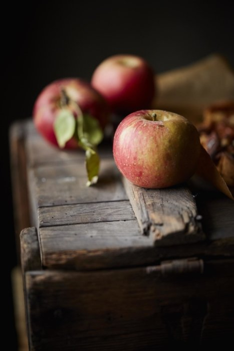 Apples on a wooden box