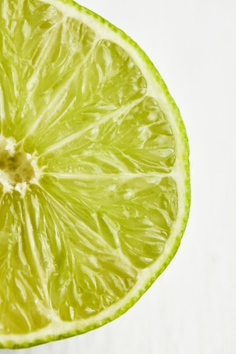 Raw slice of lime close up