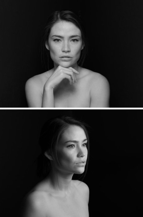 Two portraits of a woman on a black background