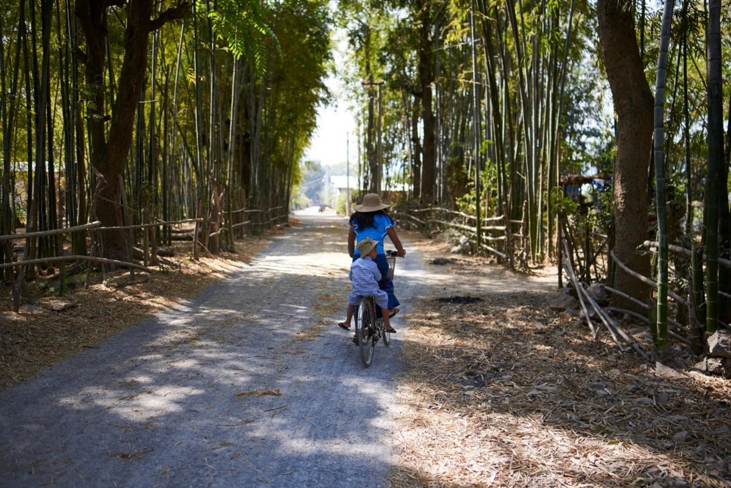 Travel photo of a woman riding a bike on road with bamboo